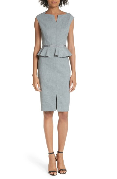 Textured Peplum Dress, Main, color, Mid Grey