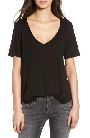 Raw Edge V-Neck Tee,                         Main,                         color, Black