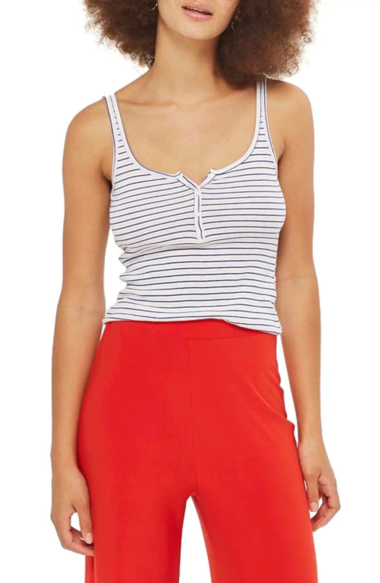 Image result for nordstrom topshop striped cropped tank