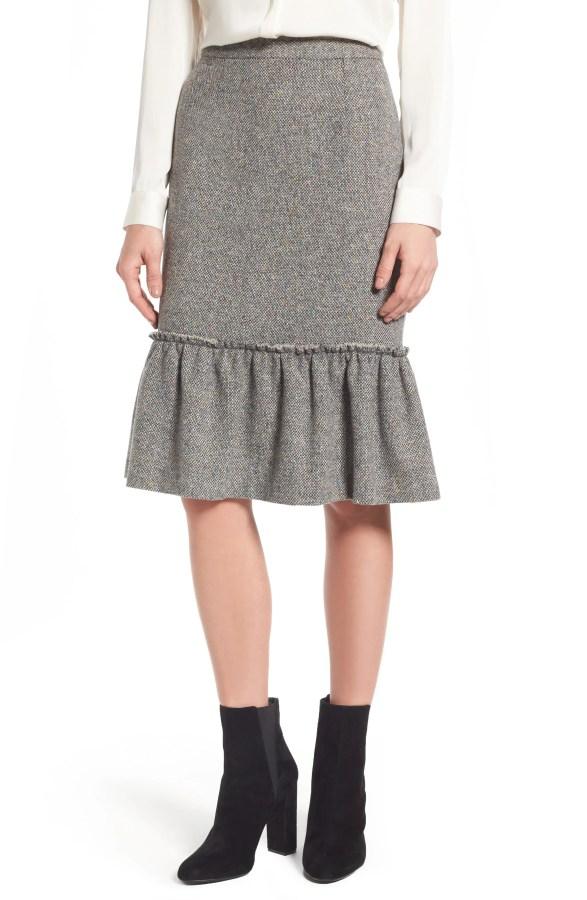 Main Image - Halogen® Ruffle Hem Pencil Skirt (Regular & Petite)