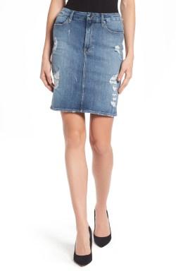 Main Image - Good American High Waist Denim Pencil Skirt (Blue 083) (Extended Sizes)