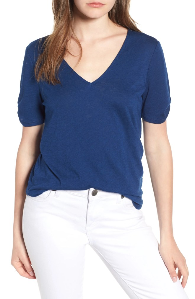 x Hi Sugarplum! Anna Maria Twist Sleeve Tee, Main, color, Nautical