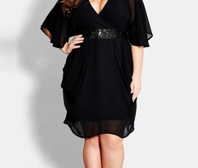 City Chic Sequin Wrap Front Dress Plus Size