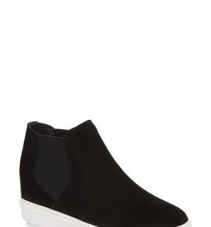 Sultan Chelsea Wedge Sneaker,                         Main,                         color, Black Suede