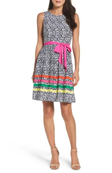 spring office Eliza J Stripe Fit & Flare Dress