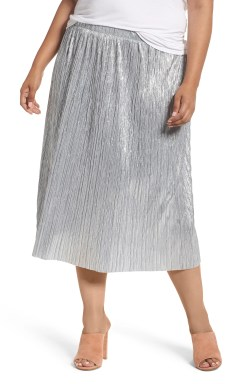 Main Image - Vince Camuto Crushed Foil Pleated Skirt (Plus Size)