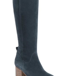 Nicola Waterproof Knee High Boot, Main, color, Dark Grey Suede