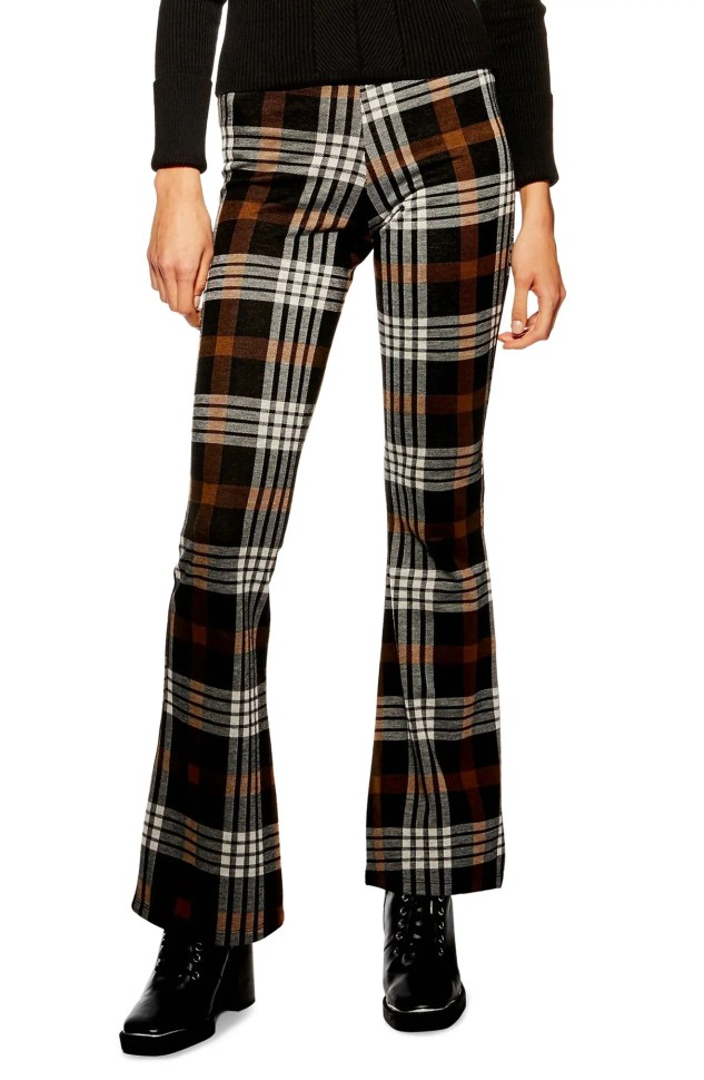 TOPSHOP Plaid Flare Pants, Main, color, BROWN MULTI