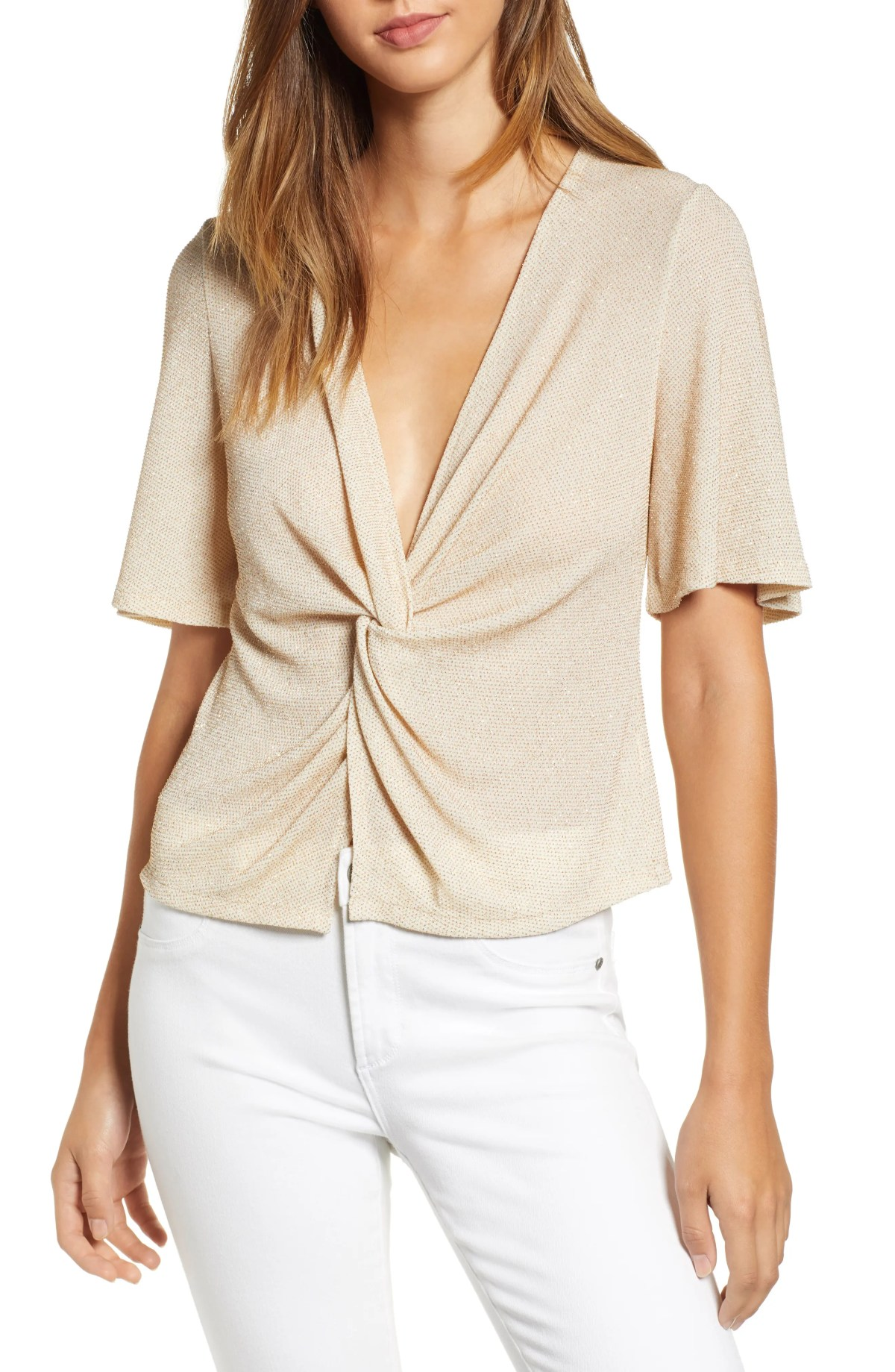 Twist Front Blouse, Main, color, BEIGE GOLD GLITTER