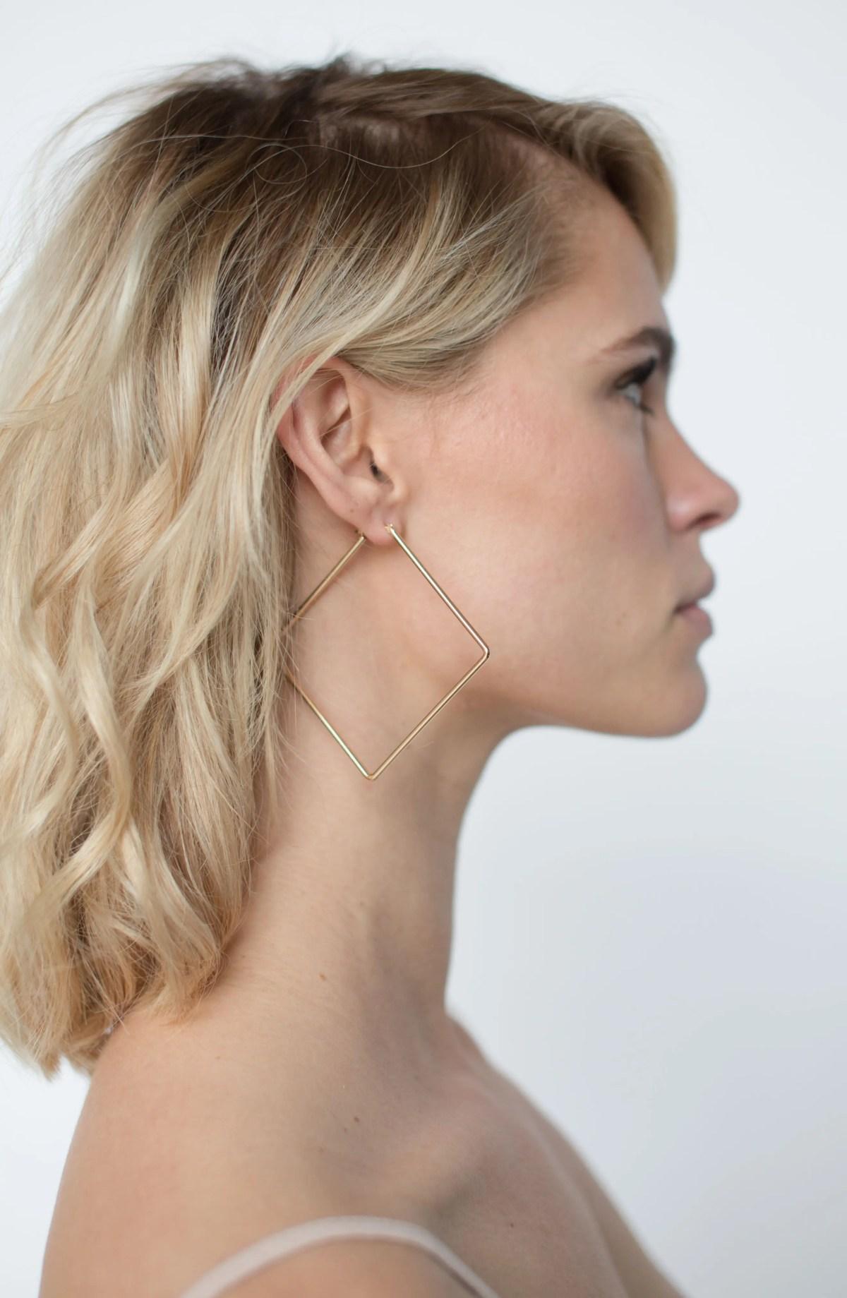 UNCOMMON JAMES BY KRISTIN CAVALLARI Girl Boss Square Hoop Earrings, Alternate, color, GOLD