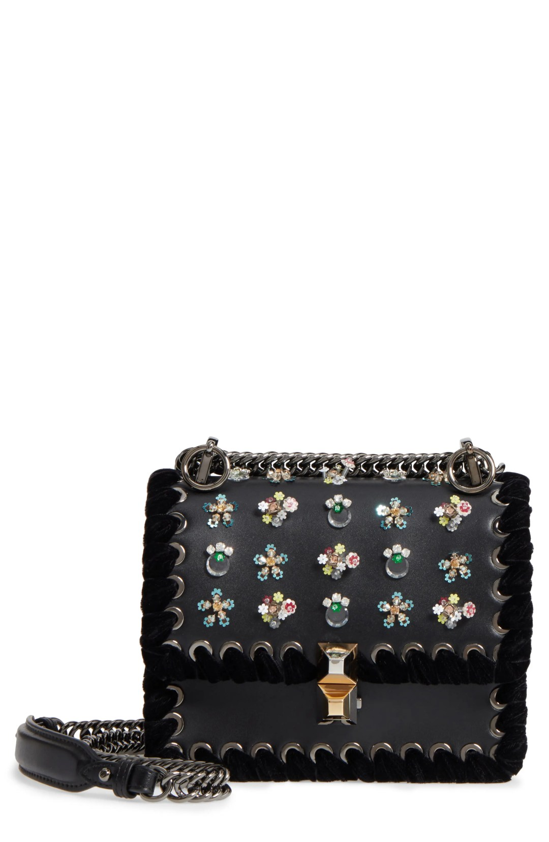 164ad66493d3 Fendi Mini Kan Beaded Flowers Calfskin Leather Shoulder Bag – Black –  NORDSTROM.com – $3,050.00