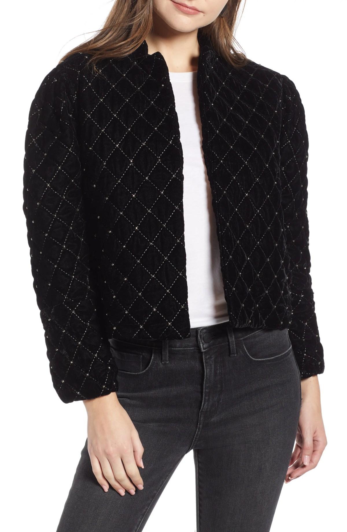 Quilted Velvet Jacket,                         Main,                         color, BLACK