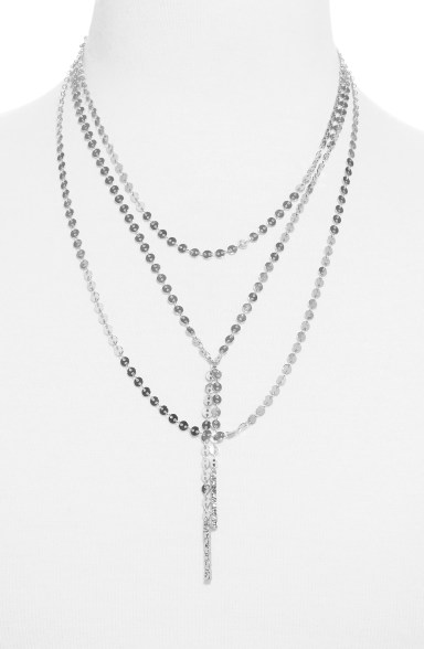 Amber Layered Chain Y-Necklace,                         Main,                         color, SILVER