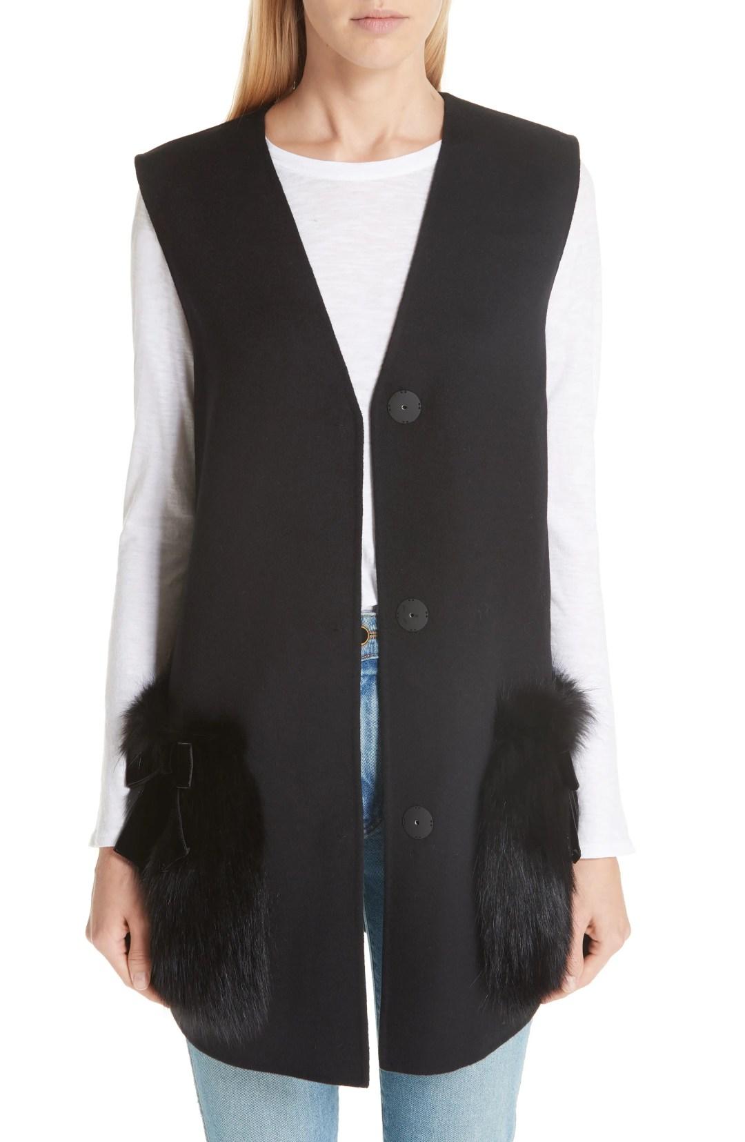 0c9f1b2a7ad Women s Fendi Wool Vest With Genuine Fox Fur Trim