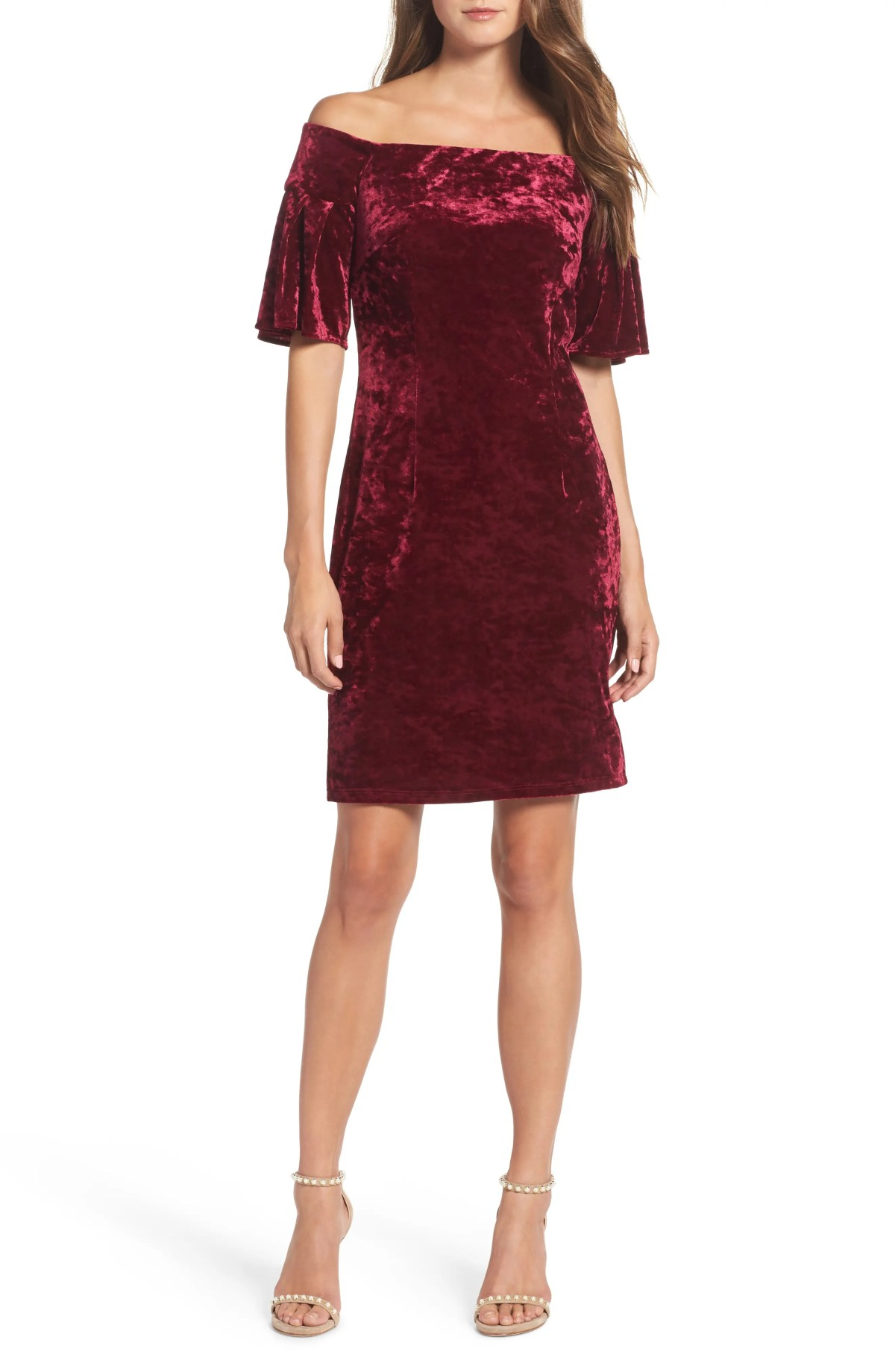 ELIZA J Off the Shoulder Velvet Cocktail Dress, Main, color, WINE