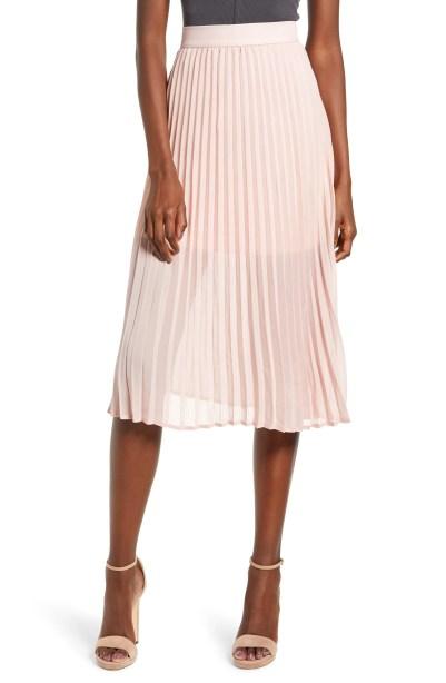 Pleated Georgette Midi Skirt,                         Main,                         color, PALE MAUVE