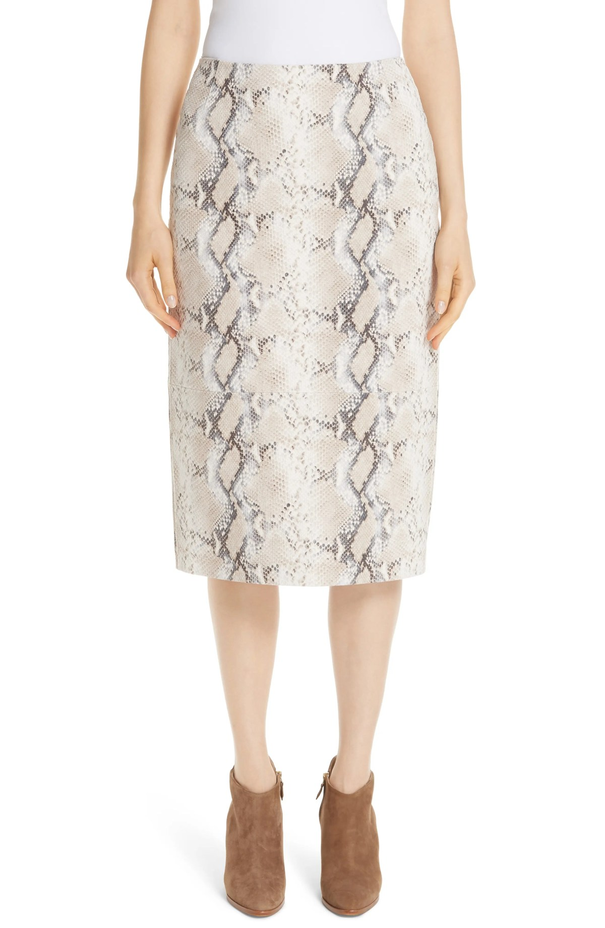 Casey Diamondback Print Suede Skirt,                         Main,                         color, TAUPE MULTI