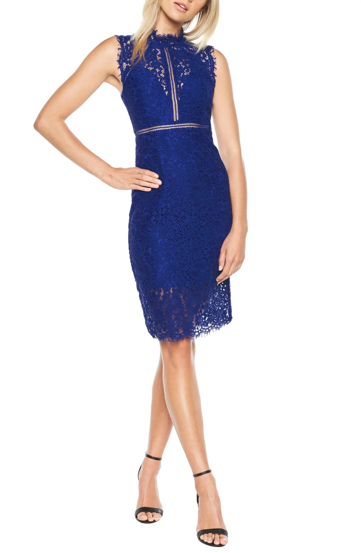 Lace Sheath Dress, Main, color, COBALT