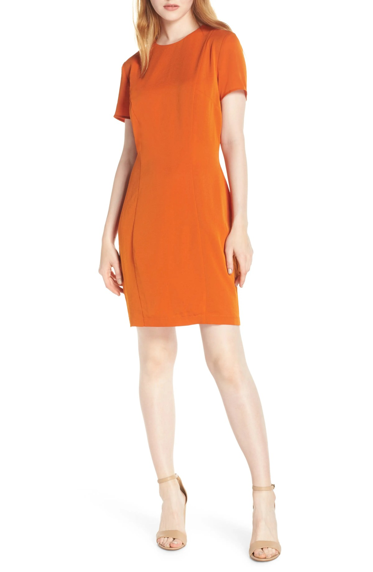 Sofia Short Sleeve Sheath Dress, Main, color, ORANGE