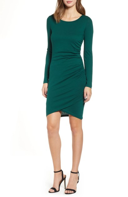 Ruched Long Sleeve Dress, Main, color, GREEN BOTANICAL