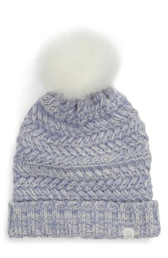Cable Knit Beanie with Faux Fur Pom,                        Main,                         color, BLUE LIGHT COMBO
