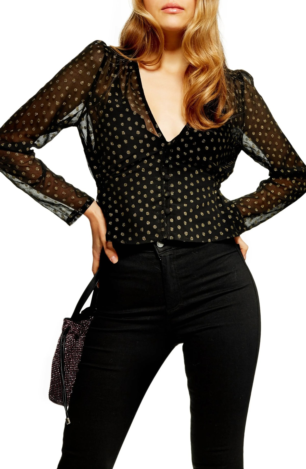Polka Dot Peplum Top, Main, color, BLACK MULTI