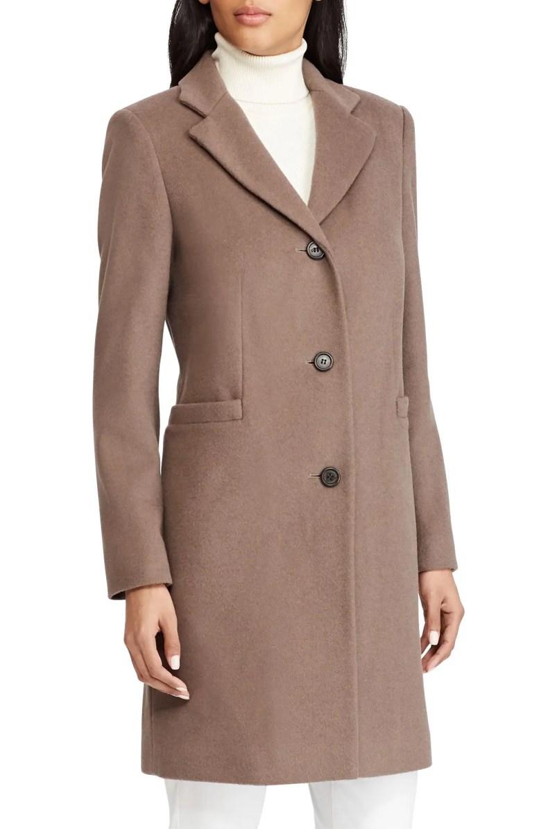 Petite Wool Blend Reefer Coat $220