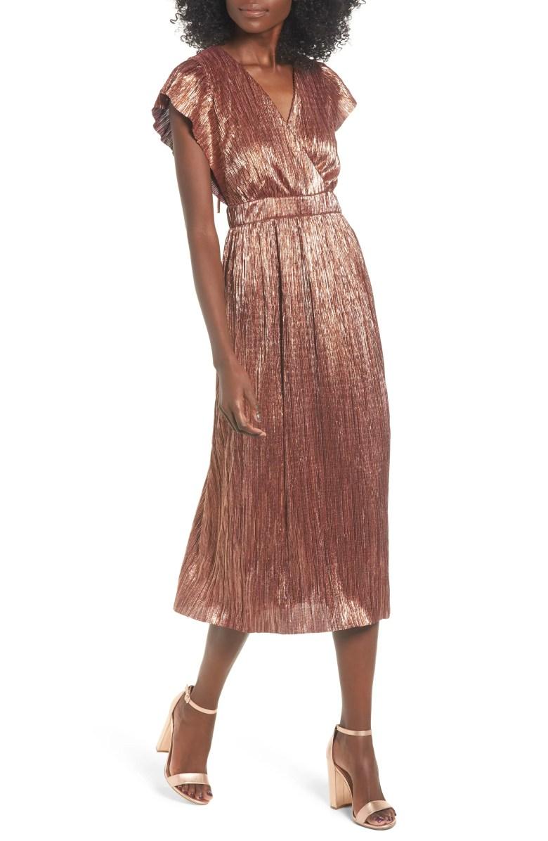 Metallic Open Back Midi Dress, Main, color, CORAL ORANGE METALLIC