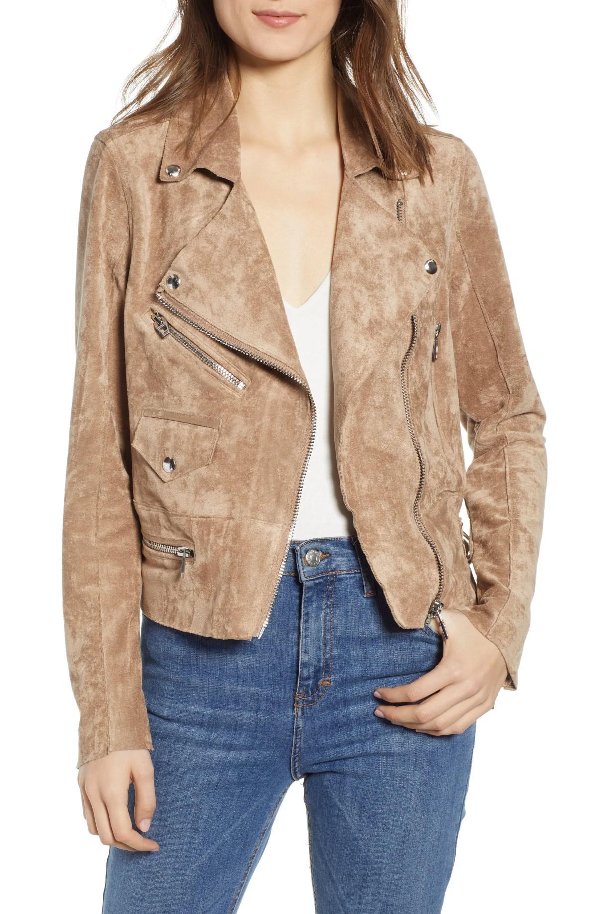 BLANKNYC Faux Suede Moto Jacket, Main, color, BRICK WALL