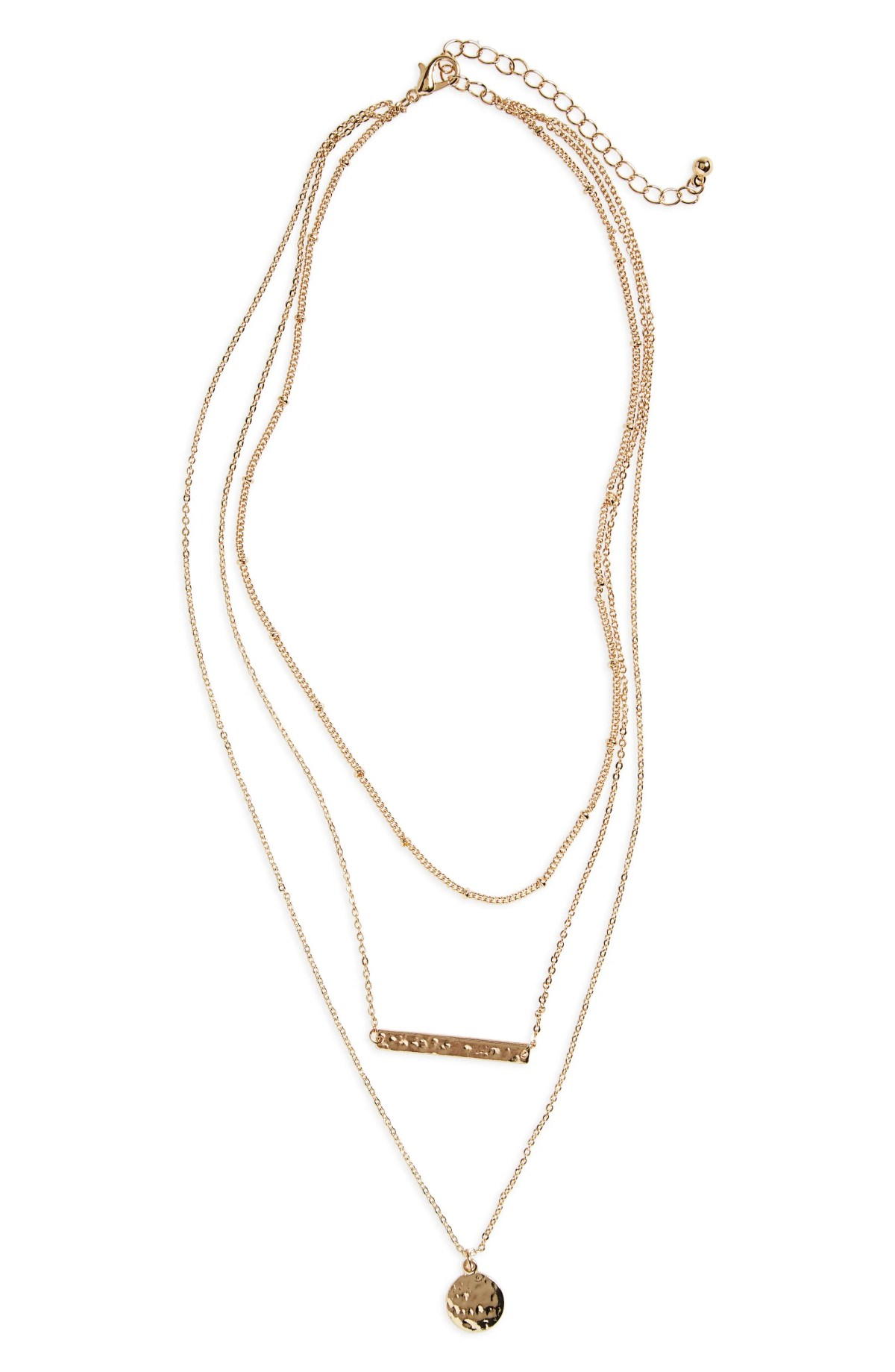 BP. Plate & Disc Layered Necklace, Main, color, GOLD