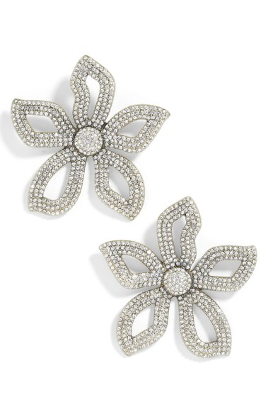 Primina Flower Drop Earrings,                         Main,                         color, CLEAR