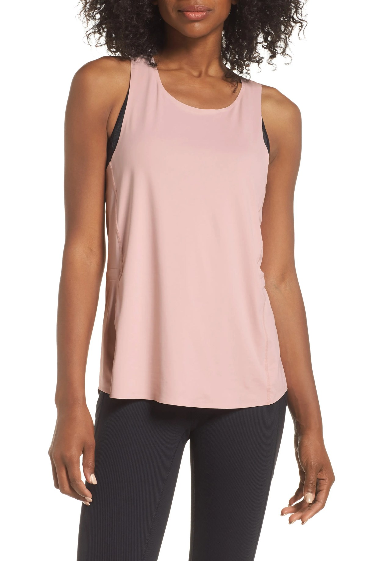 ZELLA Serena Run Racerback Tank, Main, color, PINK PEACHSKIN
