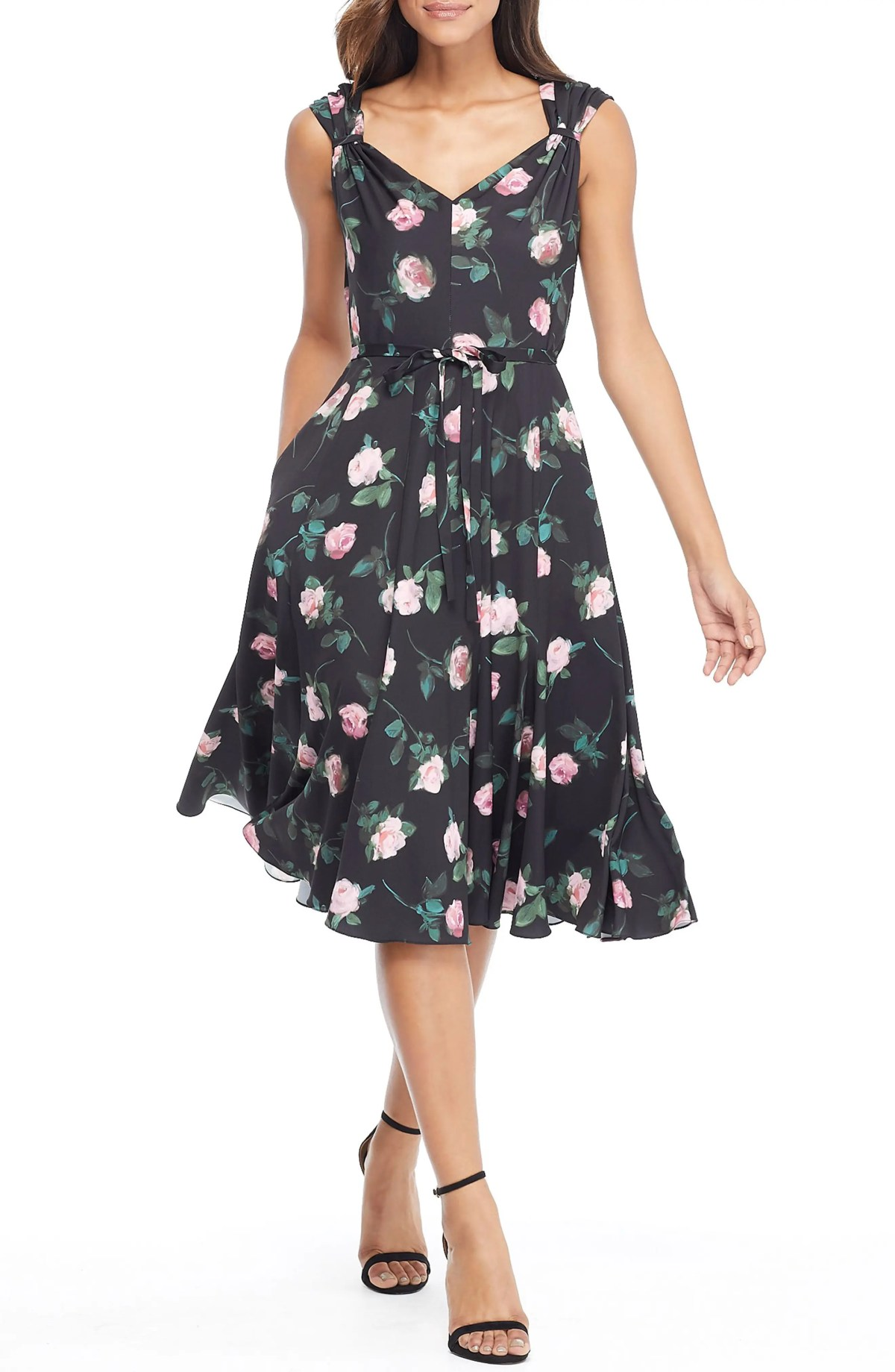 GAL MEETS GLAM COLLECTION Sadie Cowl Back Satin Dress, Main, color, BLACK/ SUGAR PLUM