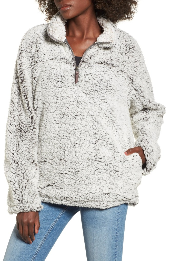 Wubby Fleece Pullover,                         Main,                         color, CHARCOAL