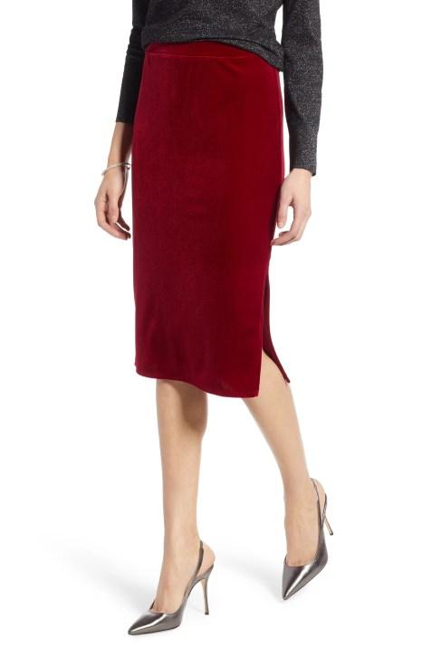 Velvet Pencil Skirt, Main, color, RED