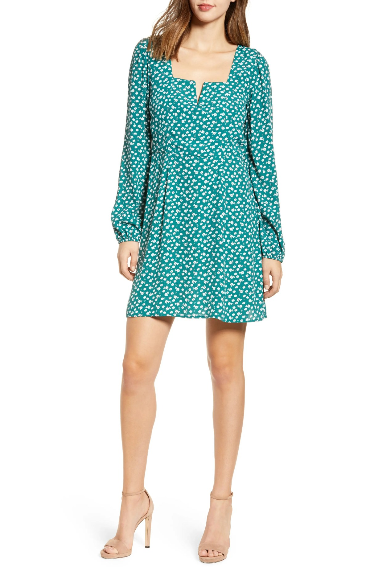 ROW A Printed Minidress, Main, color, TEAL FLORAL