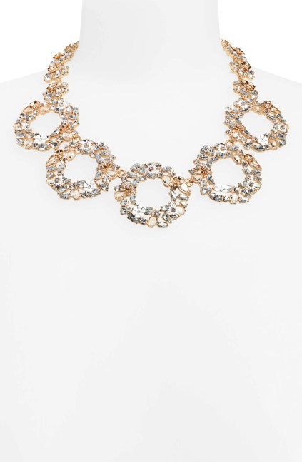 Floral Circle Statement Necklace,                         Alternate,                         color, CRYSTAL