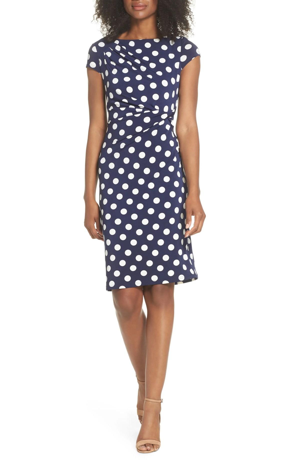 ELIZA J Polka Dot Side Twist Sheath Dress, Main, color, NAVY/ IVORY