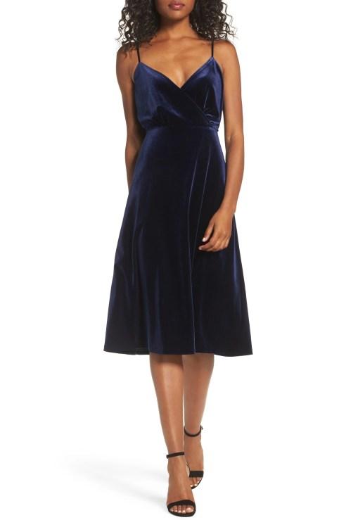 Velvet Midi Dress, Main, color, NAVY