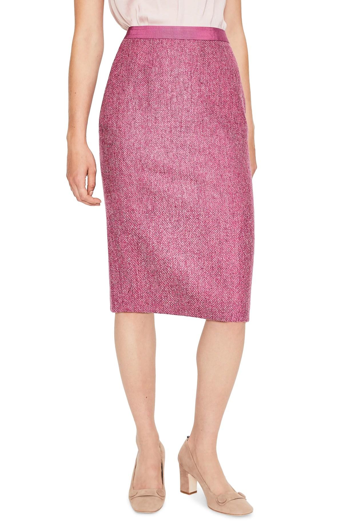 Wool Pencil Skirt,                         Main,                         color, AMARANTH/ GREY HERRINGBONE