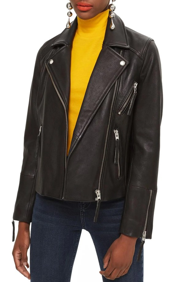 Dolly Leather Biker Jacket, Main, color, BLACK