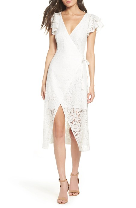 Ruffle Sleeve Wrap Lace Midi Dress, Main, color, WHITE