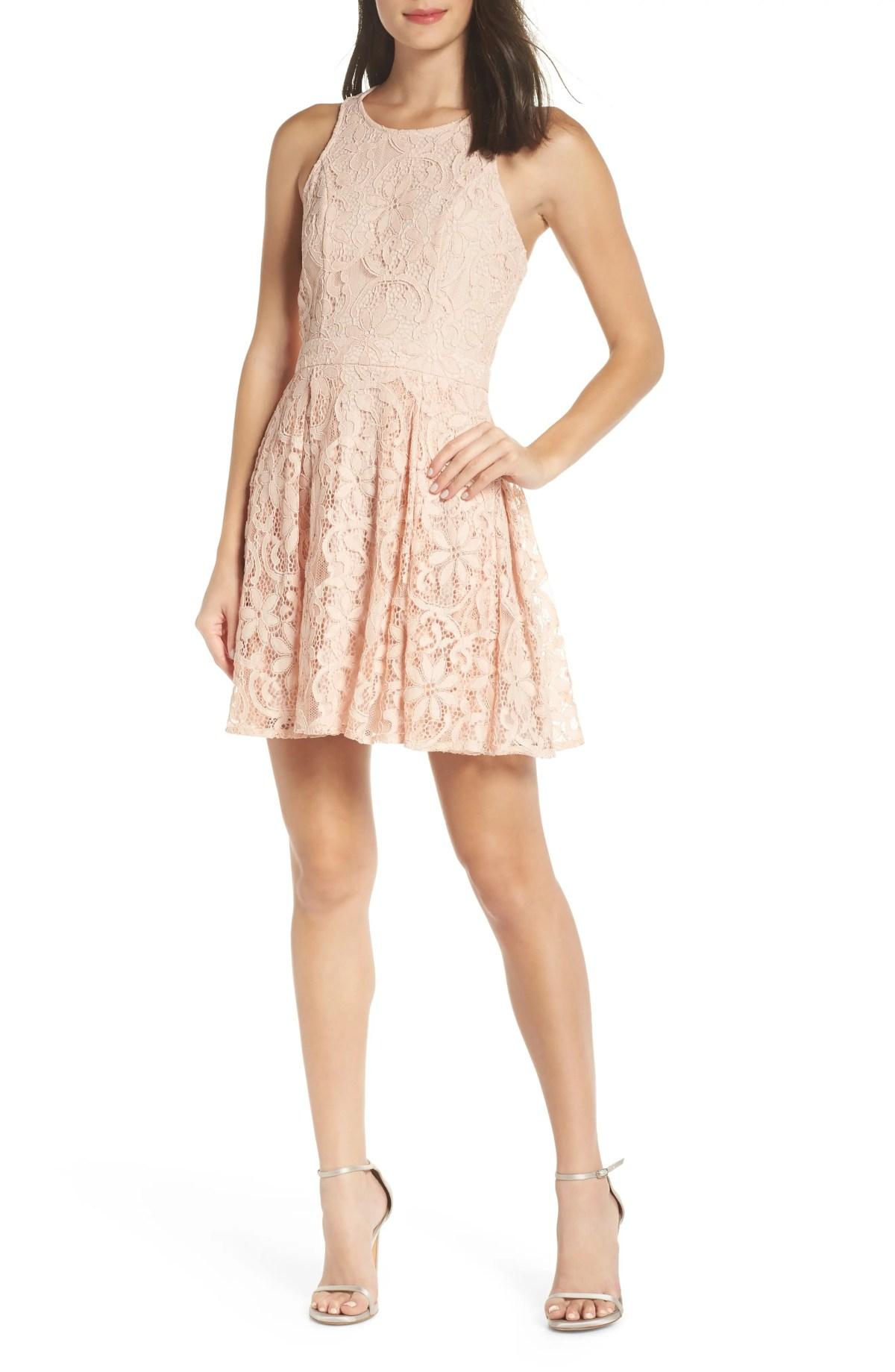 LULUS Racerback Lace Party Dress, Main, color, BLUSH