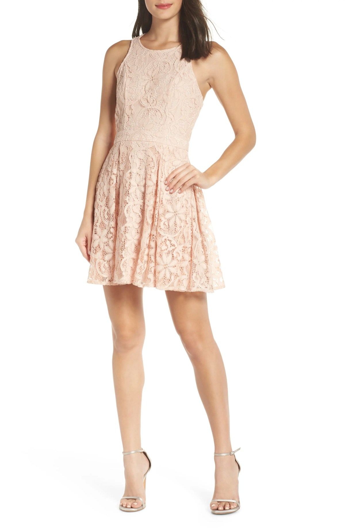LULUS Racerback Lace Party Dress, Main, color, BLUSH