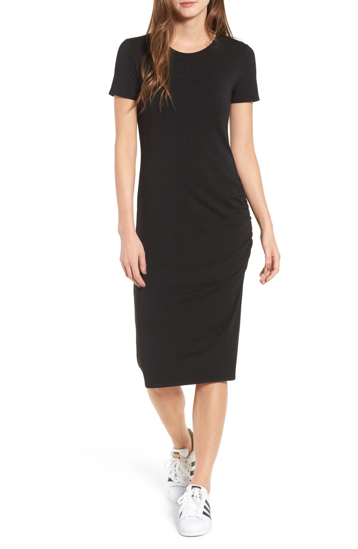 TREASURE & BOND Side Ruched Body-Con Dress, Main, color, BLACK
