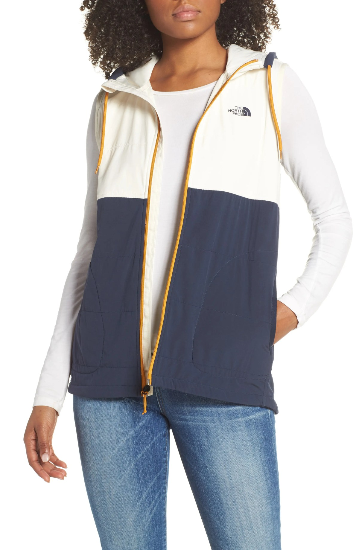 THE NORTH FACE Mountain Insulated Zip Hooded Vest, Main, color, URBAN NAVY MULTI