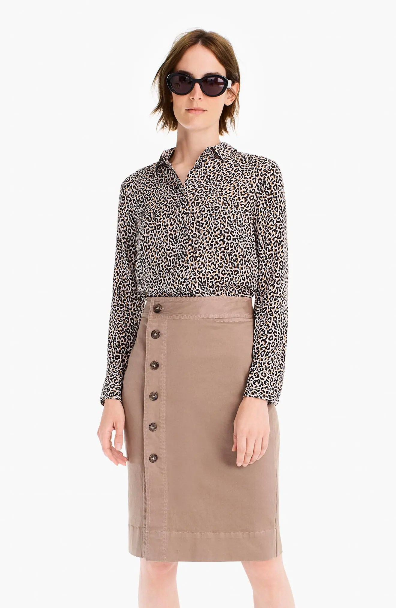Side Button Stretch Chino Pencil Skirt $89.5