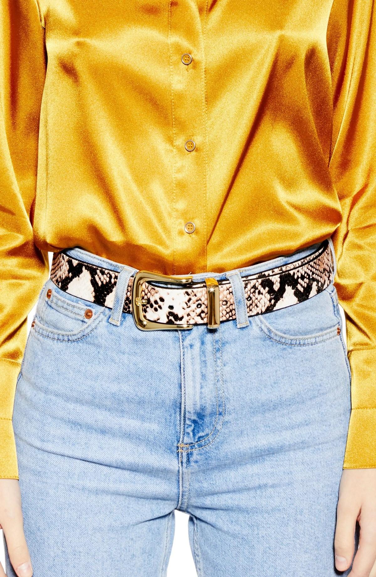 TOPSHOP Snake Print Genuine Calf Hair & Leather Belt, Alternate, color, STONE MULTI
