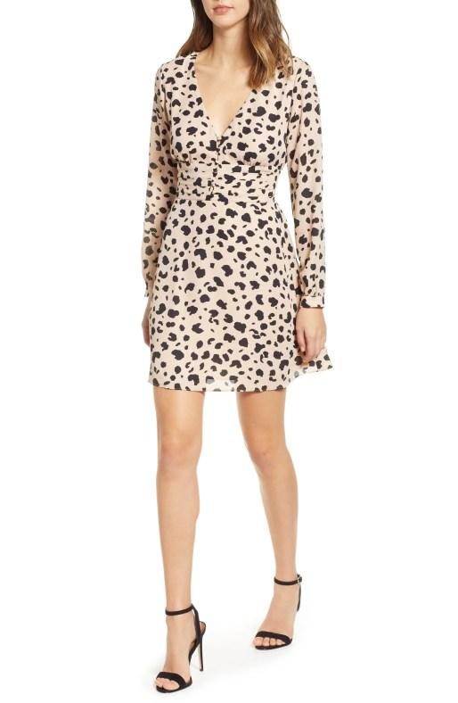 Print Button Dress,                         Main,                         color, LEOPARD