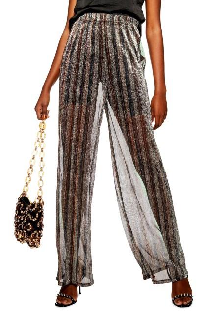 Wide Leg Sheer Glitter Pants,                         Main,                         color, BLACK MULTI